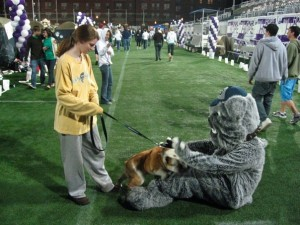 Jack plays with costumed Jack at Relay for Life